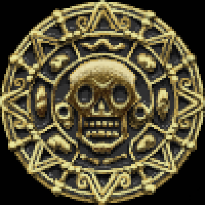 pixel art Pirate coin realistic coin shiny Pirates of the Caribbean gold by BlackDragon piq