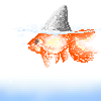 pixel art Goldy-Hark fish goldfish shark mutants by miss m piq