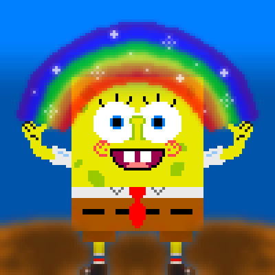 pixel art *o* IMAGINATION *o* wg imagination spongebob rainbow by wolfgirl456 piq