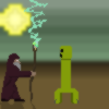 The wizard fights a creeper