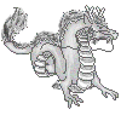 pixel art 2012 - Year of the Dragon gray chinese dragon hair black year white by pixelover piq