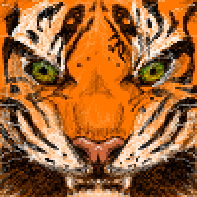 pixel art Tiger face yellow face tiger lion green animal orange black pixel by Masto91 piq