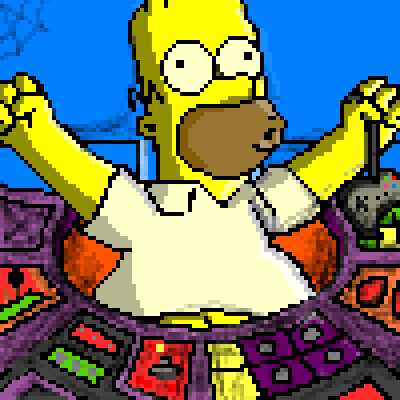 pixel art Working or Playing ? homer play powerplant nuclear work yellow tv pixel simpson by Mas