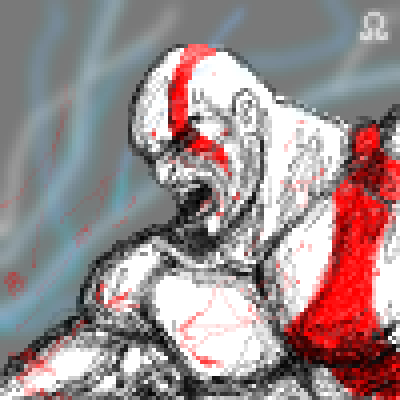 pixel art Kratos , God Of War kratos I god angry pixel II storm of white III omega war red by Masto91 piq