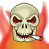 skull, cigarette, fire and smoke