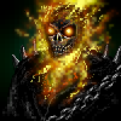 pixel art Ghost Rider fire smoke ghostrider ghost rider by sichiu piq
