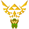 8bit legend of zelda logo + link by royborkin