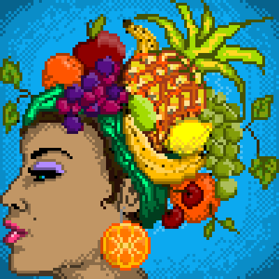 pixel art Homage to Carmen Miranda profile hat Fruits and veggies Carmen Miranda contest by voodoomoocow piq