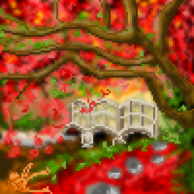pixel art autumn bridge blur by voodoomoocow piq