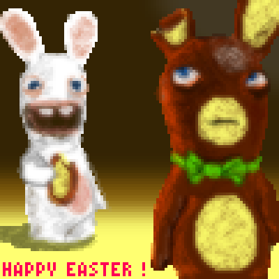 pixel art Happy Easter ! crazy eggs chocolate rabbids rabbit party easter eat happy by Masto91 piq