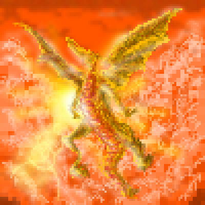 pixel art Fire Dragon orange clouds dragon by miss m piq