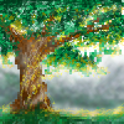 pixel art Lights On Me light tree nature by miss m piq