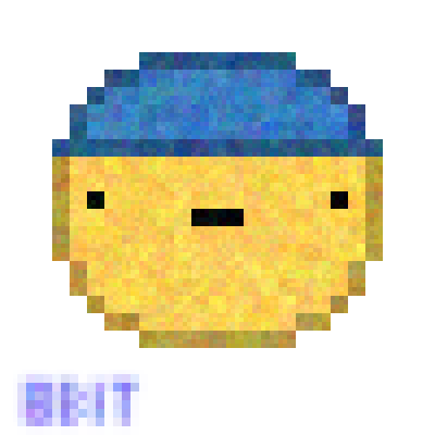 pixel art dude wif a hat a wif creator hat cap dude yellow face blue 8-bit with by 8-bit Creator piq