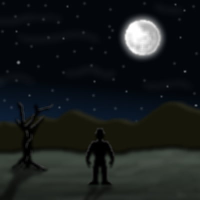 pixel art The cold mountain contemplation moon cold landscape man by cesarloose piq