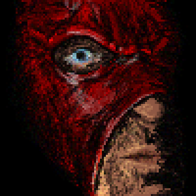 pixel art Face of Pain blue eyes pain monster big Kane Mask face red by Masto91 piq