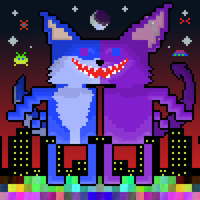 pixel art icy&koompiq city giant fur bat furry furs icy wolf koomori nigth by Koomori piq