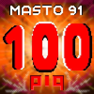 pixel art 100 PiQ for Masto 91 anniversary masto birthday 91 piq 100 celebrate by Masto91 piq