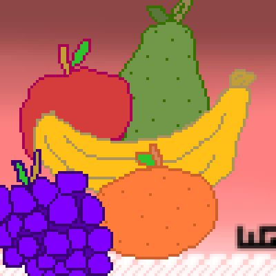 pixel art ... Yummy yummy! wg yummy bananas pear pears wolfgirl456 fruit yum apples grapes fruits orange grape oranges banana apple by wolfgirl456 piq