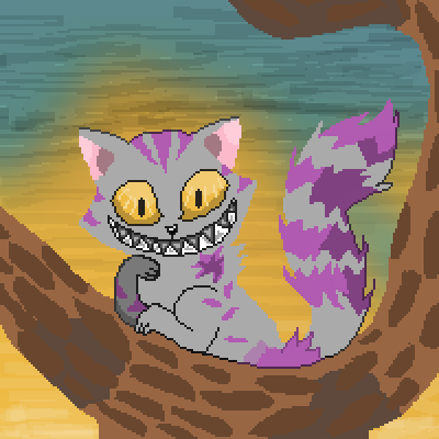 pixel art Request: Cheshire Cat *lexiealea* wg gray purple Cheshire Cat tree cat wolfgirl456 Requests by wolfgirl456 alice in wonderland cheshire lexiealea by wolfgirl456 piq