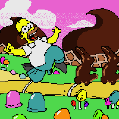 pixel art Homer's Dream homer candies candy chocolate simpsons tv world dream simpson by Masto91 piq