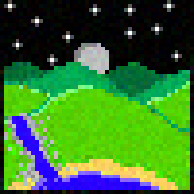 pixel art Nightime Hills cows moo green landscape night by MrBrowns piq