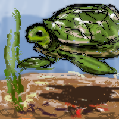 pixel art Sea Turtle by Fuzzy piq