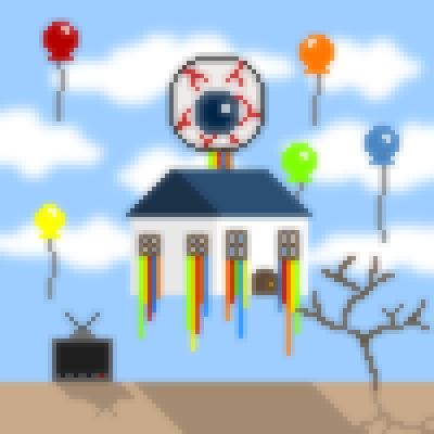 pixel art Surrealist landscpe globo television eye surrealist house balloon tree surrealism colors surrealismo ojo by Lioninacoma piq