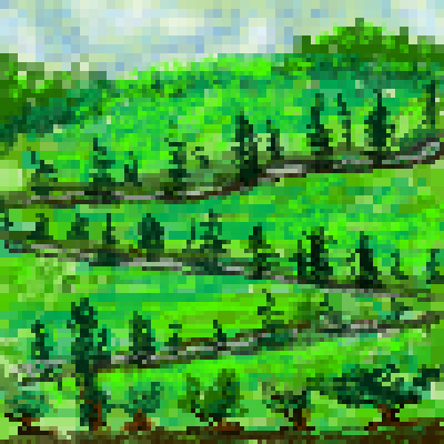 pixel art My way roadway landscape trees by miss m piq