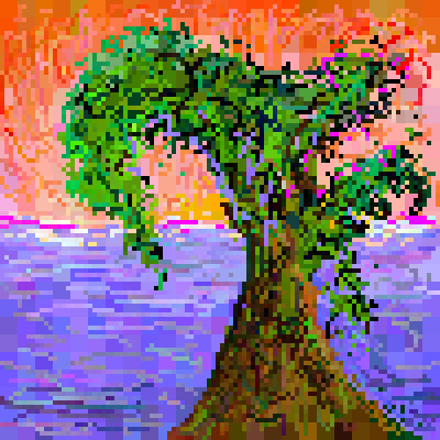 Scribble tree in sunset