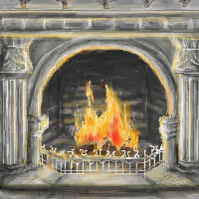 pixel art Warmth fireplace by Paulanna piq