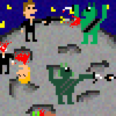 pixel art Spacial Alien Vs Human Fight! planet sci universe spacial Humans Alien galactic vs scifi fi epic awesome by 321BOOOOOOOOM piq