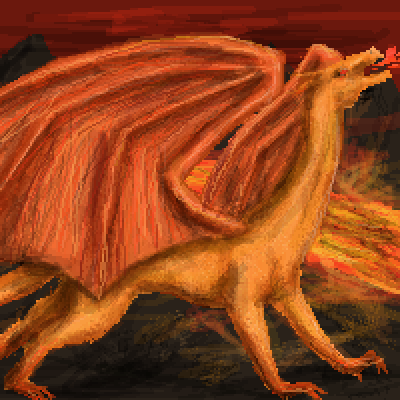 pixel art Lava dragon by Pau