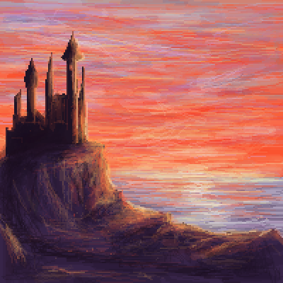 pixel art Castle on the cliff by Paulanna piq