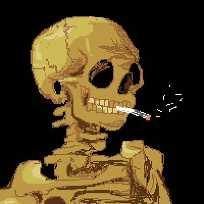 pixel art Skull with a burning cigarete sketch art smoke skull cigaretes yippiyee rough painting by yippiyee piq
