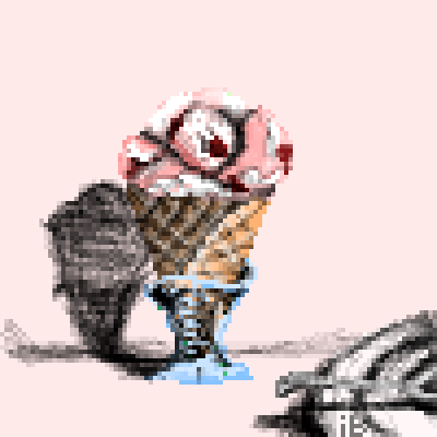 pixel art Ice Cream in a Vase... food pink ibeany ice cream contest by ibeany piq