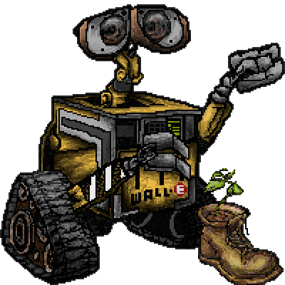 pixel art Wall-E wall-e color plant boot pixar by IvoryMalinov piq