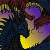 Two dragons colored