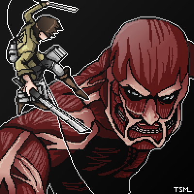 pixel art Attack on Titan by thesunrisemassacre piq