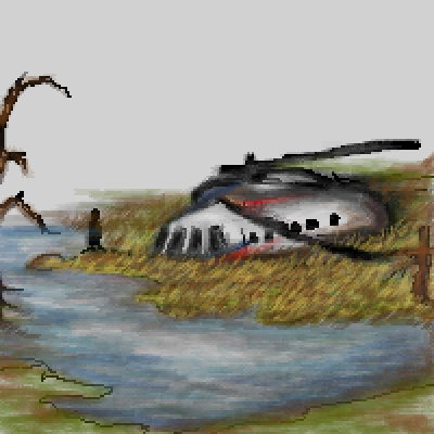 pixel art WIP crash survivor swamp WIP alone helicopter apocalypse by IvoryMalinov piq