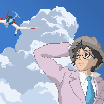 pixel art The Wind Rises ghibli movie miyazaki sky cloud plane studio raises hiyao japan The wind Don'tREADTHETAGSVENGEFUL!!!!!! SDASMKDASDAÑSL by Lelouch-Lamperouge piq