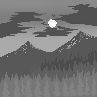pixel art Grayscale Gray Scale Mountains Grayscale Depressing Circle Cool Nice by Jankovic123 piq