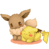 Evee and Pikachu