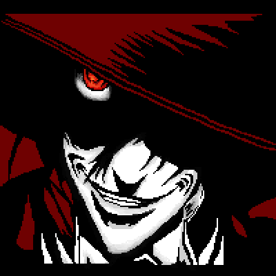 pixel art Alucard Hellsing dark black Alucard white manga red Anime by IvoryMalinov piq