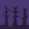 Purple forest scene