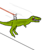 Cat Riding on a Dinosaur w/ lasers involved somehow