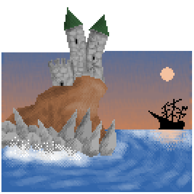 "pixel art seaside castle at dusk  ship 5th_tag Iknowitsnotreallyafuckingtemple temple ""temple"" by Jankovic123 piq"