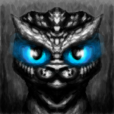 pixel art Meow blue eyes scales grey dragon cat creature by Shiro piq