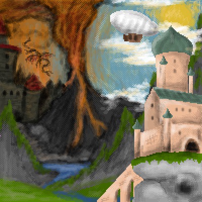 pixel art Lumpfag collab fantasy castle sky. landscape hell by Jankovic123 piq