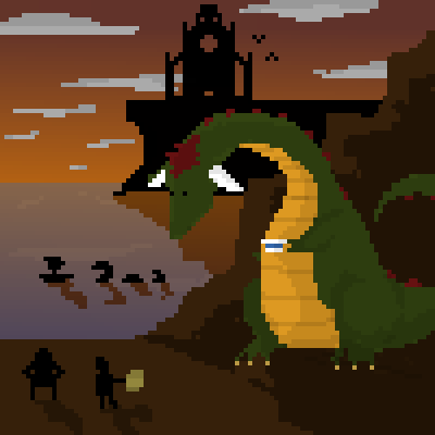 pixel art Stopping for Directions map clouds ocean teacup sunset cathedral knights dragon boat by imperialblackhawk piq