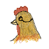 Church, the rooster, wearing a eye glass? W I P